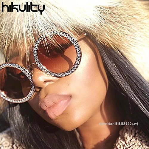 High-Season Hikulity Eyewears 2018 Luxury Diamond Round Sunglasses Women Brand Designer Vintage Shades Rhinestone Sun Glasses for Men Oculos (Gold/Double Tea - Clear) - Sun Rhinestone