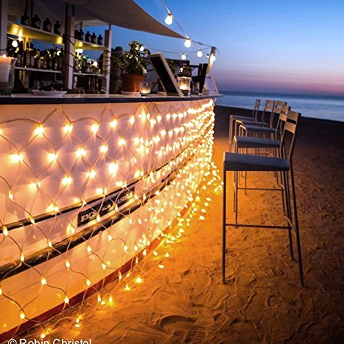 Ollny LED Net Mesh Fairy String Decorative Lights 200 LEDs 9.8ft x 6.6ft Tree-wrap Warm White Lights with Remote...
