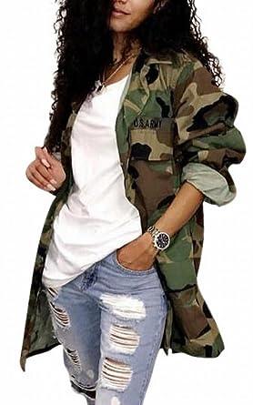 beff513fd21ea HTOOHTOOH Women's Fashion Camouflage Lightweight Long Sleeve Outwear Jacket  ...