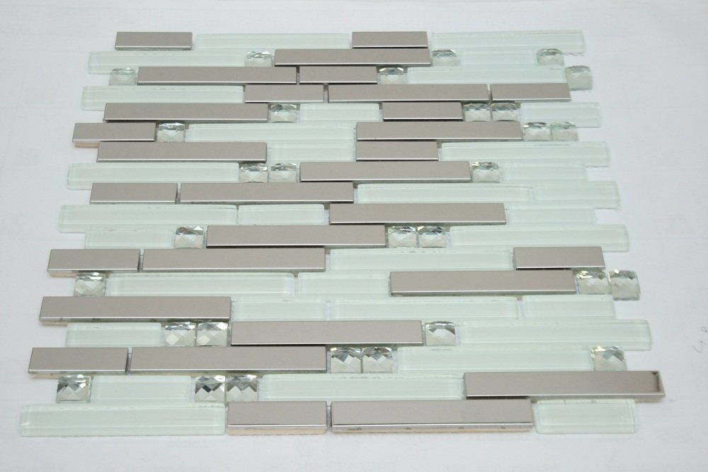 Newport Rich White Blend 12 in. x 12 in. Mesh-Mounted Stainless Steel & Glass Mosaic Tile - Lot of 50 sqf