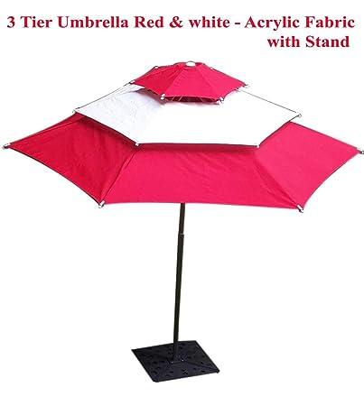Patio Umbrella (6 Part Hex Round Umbrella 3 Tire - Red & White)