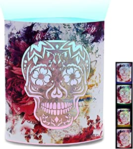 CoTa Global Color Changing LED Light Lantern Day of The Dead Sugar Skull Art Design Home Garden Décor 6.5 Inch Handcrafted Lamp Accent Bedroom Living Room Indoor Outdoor Portable Lanterns Decoration
