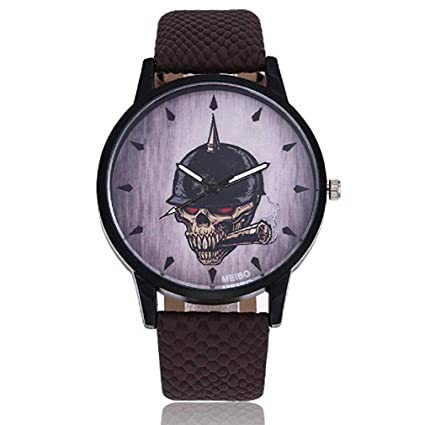 Scpink Reloj de Cuarzo, Reloj Unisex para Mujer Modelo de Metal Hueso Retro Y Cigarrillo