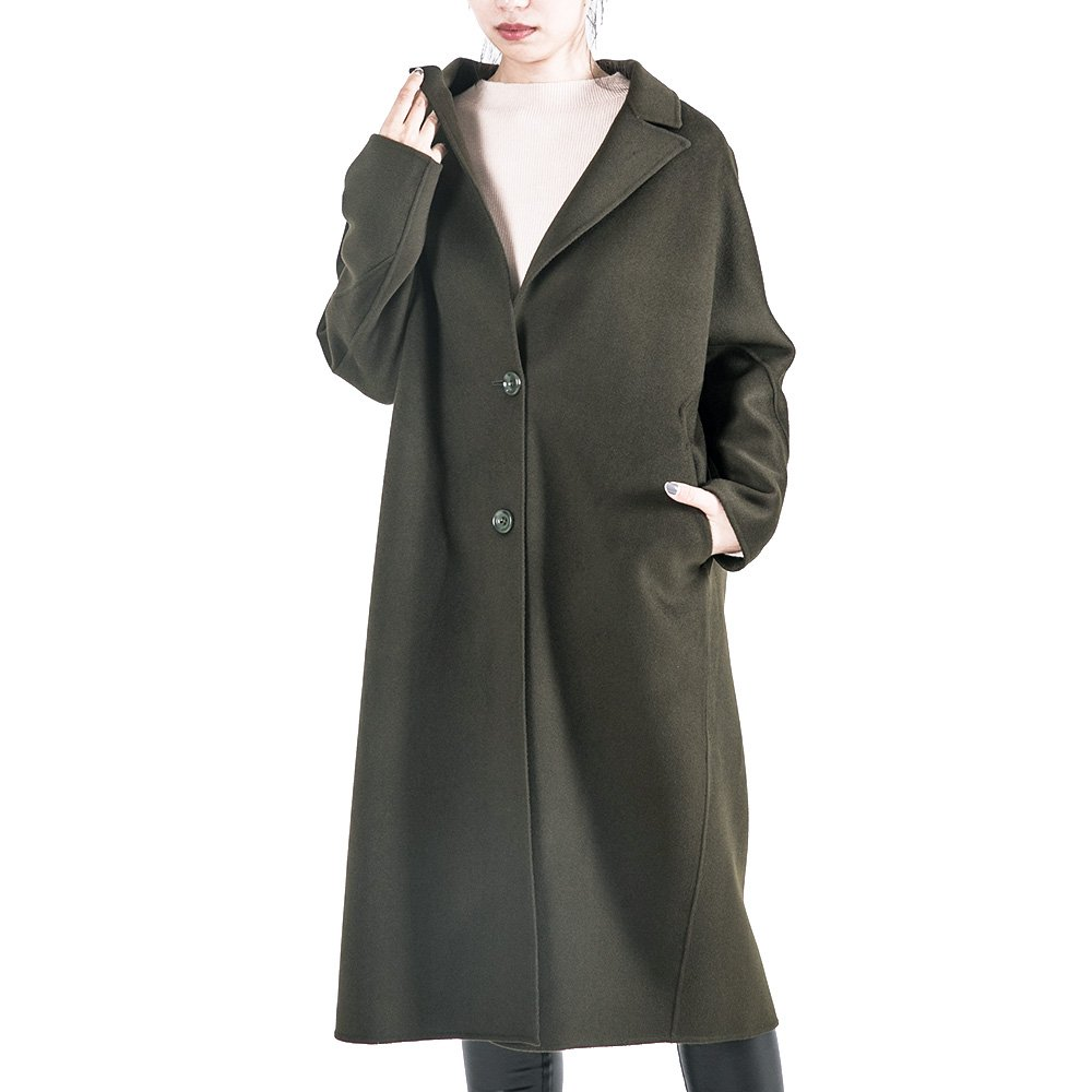 OYEAHGIRL Women Wool Winter Over Coats Classic Suit Long Style Army Green Outerwear by OYEAHGIRL