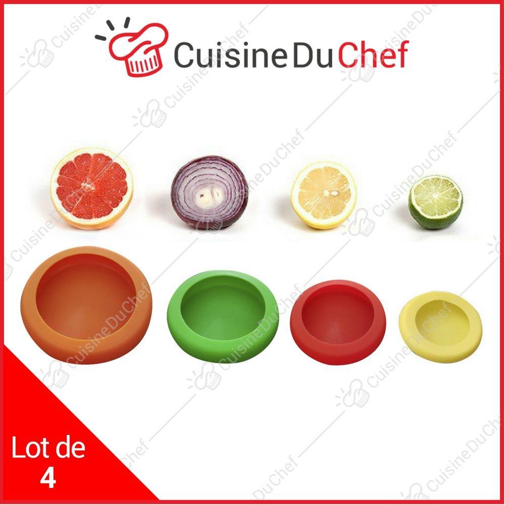✮ CuisineDuChef ✮ Couvercles souples en silicone   Lot de 4   Protections réutilisables   Conservateurs de nourriture   Conçus pour fruits et légumes, bocaux, conserves