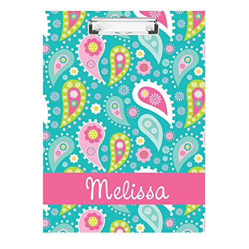 Bright Paisley Monogrammed Double Sided Hardboard Clipboard