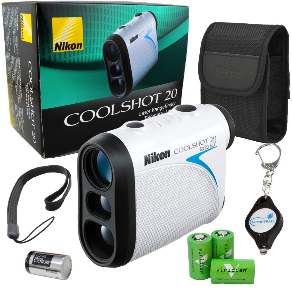 Nikon Coolshot 20 Golf Laser Rangefinder 550 Yard Range Bundle with 3 Extra Viridian CR2 Batteries and a Lumintrail Keychain Light by Nikon (Image #1)