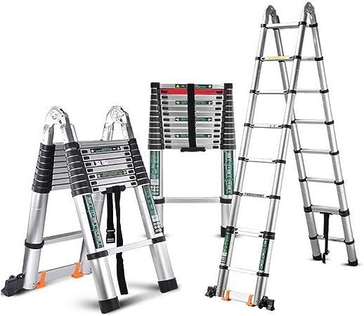 XEWNEG Escalera Extensión Aluminio Multifunción, Plegable con Cerradura De Seguridad Y Ruedas, Escalera Recta para Ático De Ingeniería Exterior Portátil, Carga 330 LB (Size : 2.8M+2.8M=5.6m(18FT)): Amazon.es: Hogar