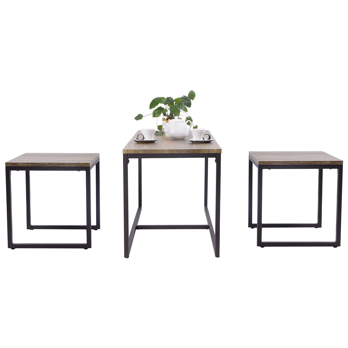 Moon Daughter 3 Piece Nesting Coffee Chairs & End Table Set Wood Modern Living Room Furniture Decor