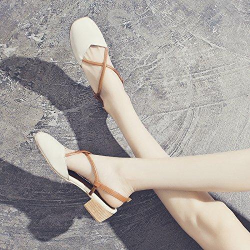Señoras Nueva crema Estilo 35eu Toe Plataforma Cerrado Para Mujer Casual Verano Moda Sohoeos blanco Señoras Sandalias Hebilla Colegio 1AX6fq6