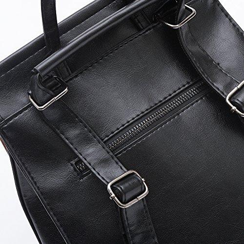 Saint-Acior Groß Modisch Rucksack Frauen Mädchen PU Leder Schultertasche Freizeittasche Damen Sports Backpack (Braun) Braun dShd8d1