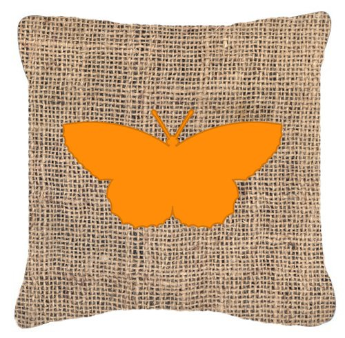 "UPC 615872542765, Caroline's Treasures Butterfly Burlap & Orange Canvas Fabric Decorative Pillow, 14"" x 14"", Multicolor"