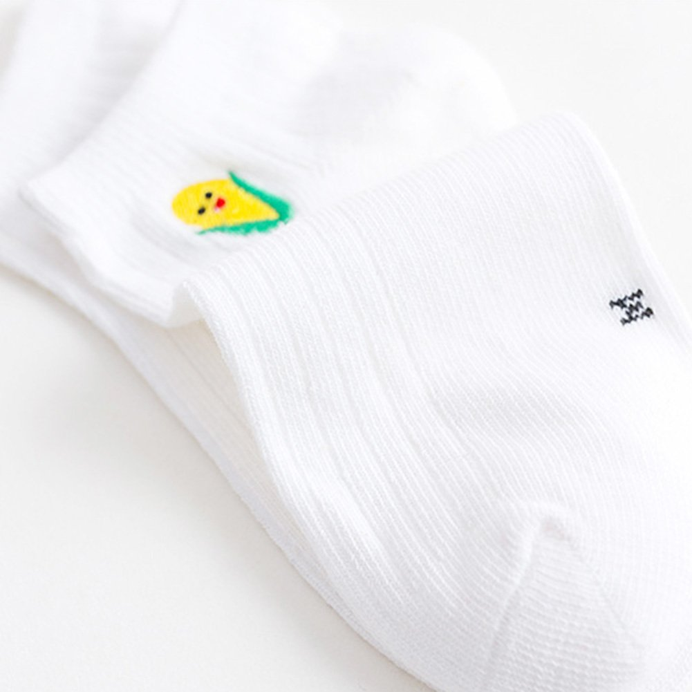 CHUANGLI 5 Pairs Unisex Girls Boys Non-Slip Socks Cute Fruits Vegetables Low Cut Ankle Cotton Socks for Kids