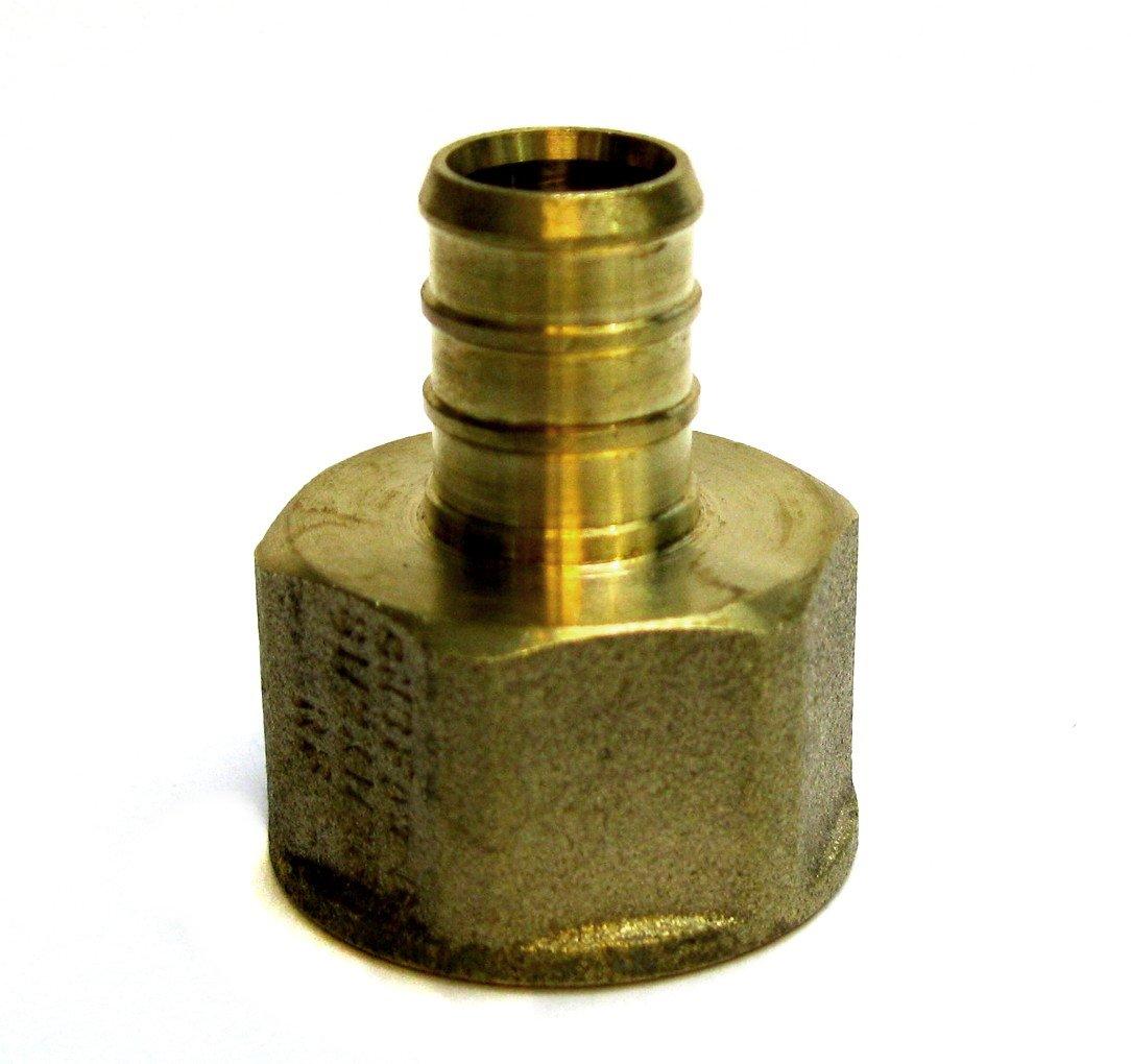 Threaded Crimp Fitting PEX-FA-12 1//2 Pex Female Adapter NPT 1//2 inch Brass pack of 3