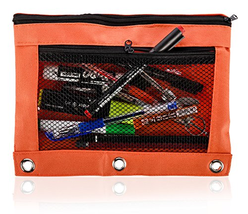 Pencil Bag with Zipper for Kids & Adults by Boona|3 Ring Binder Pouch for Fountain Pens|2 Compartments & Mesh Window|Canvas Organizer|Art Marker & Crayon Carrying Pouch|Washable (5 Pack of 6 colors) by KP Solutions (Image #1)