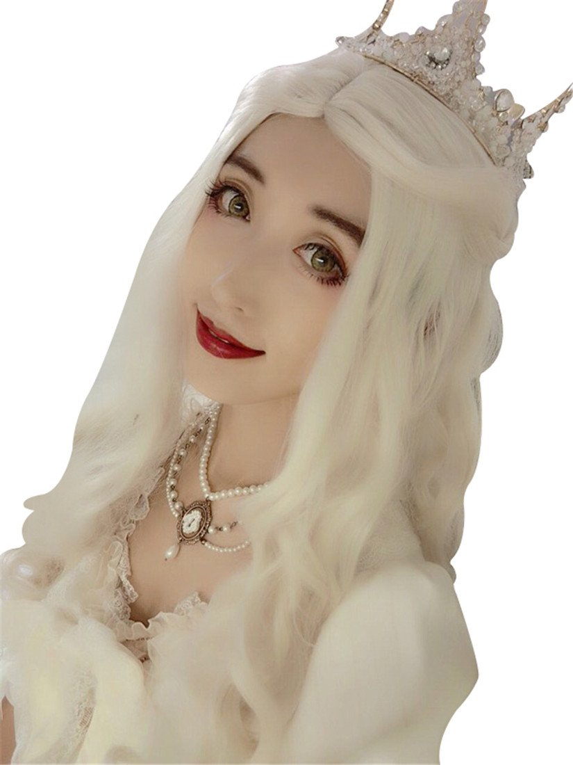 Nuoqi Women's Anime White Queen Long Blonde Curly Movie Cosplay Wigs