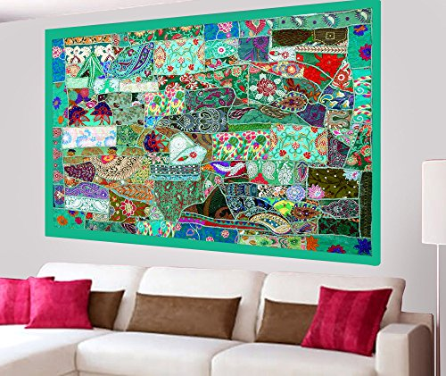 Indian Home Decor Handmade Bohemian Patchwork Design Wall Hanging Tapestry with Embroidery, Zari, Sequins, Old Sari Patchwork - 40 X 60 Inches