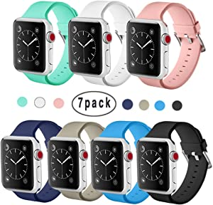ISENXI Compatible for iWatch Band 42mm 44mm, 7 Pack Soft Silicone Sport Style Strap Replacement Bands Compatible for Apple Watch Series 5 Series 4 Series 3 Series 2 Series 1 44mm (42mm-7pack-FK01)