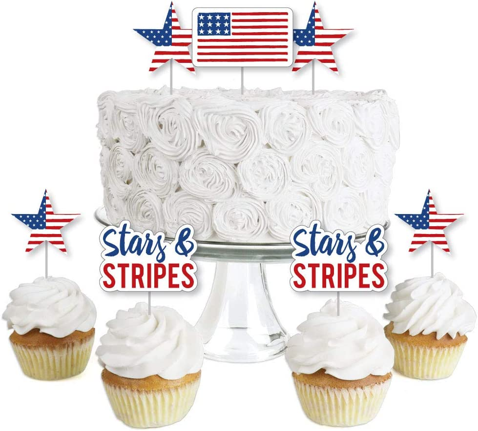 Big Dot of Happiness Stars and Stripes - Dessert Cupcake Toppers - Memorial Day USA Patriotic Party Clear Treat Picks - Set of 24