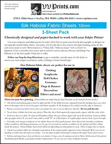 Inkjet Printable Silk Habotai Fabric Sheets 3-sheet Pack