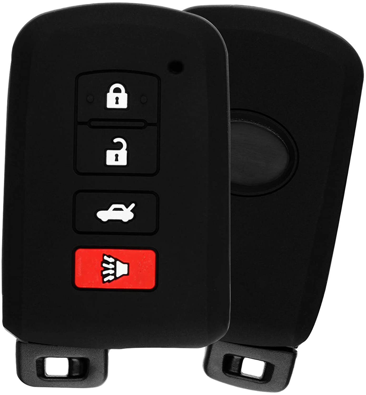 KeyGuardz Keyless Entry Remote Car Smart Key Fob Outer Shell Cover Soft Rubber Protective Case for Toyota Avalon Camry Corolla Highlander Rav4 HYQ14FBA