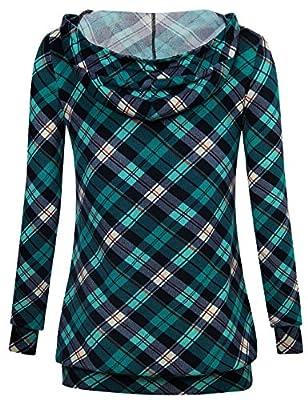 Timeson Women's Long Sleeve V Neck Pullover Plaid Drawstring Sweatshirt Hoodie With Pocket