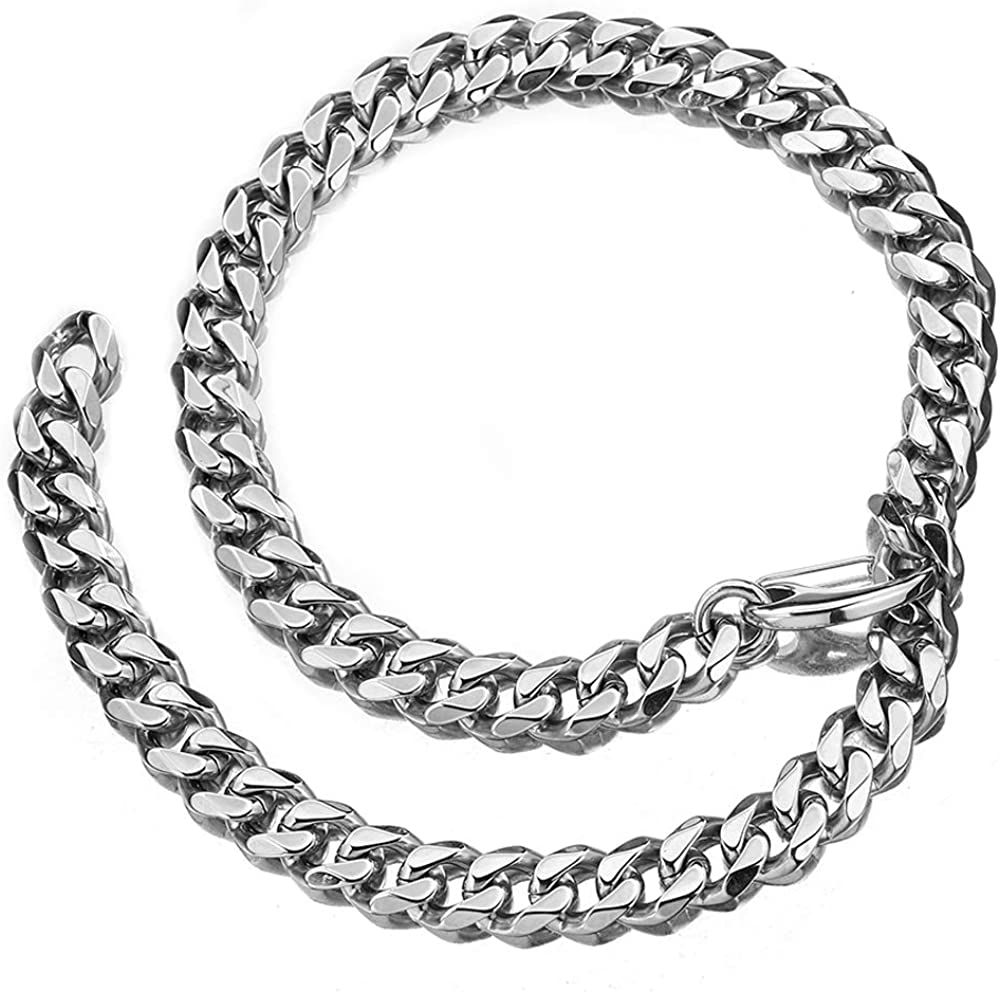 Jewelry Kingdom 1 Mens Stainless Steel Silver Heavy Cuban Link Curb Chain Necklace 15//19mm 2 Ways to Wear