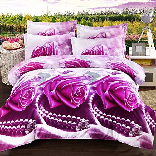 3d Bedding Set - Best Popular 3d 4pieces Purple Love Printed