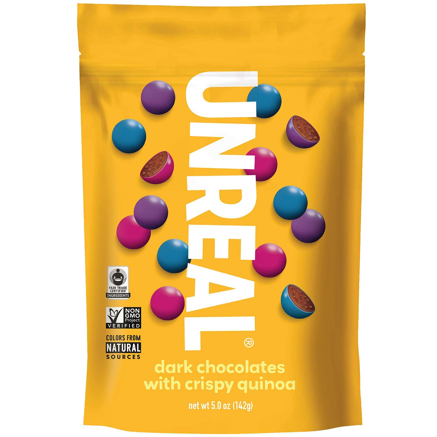 UNREAL Dark Chocolate Crispy Quinoa Gems   Non-GMO, Vegan Certified, Colors from Nature   6 Bags by UNREAL