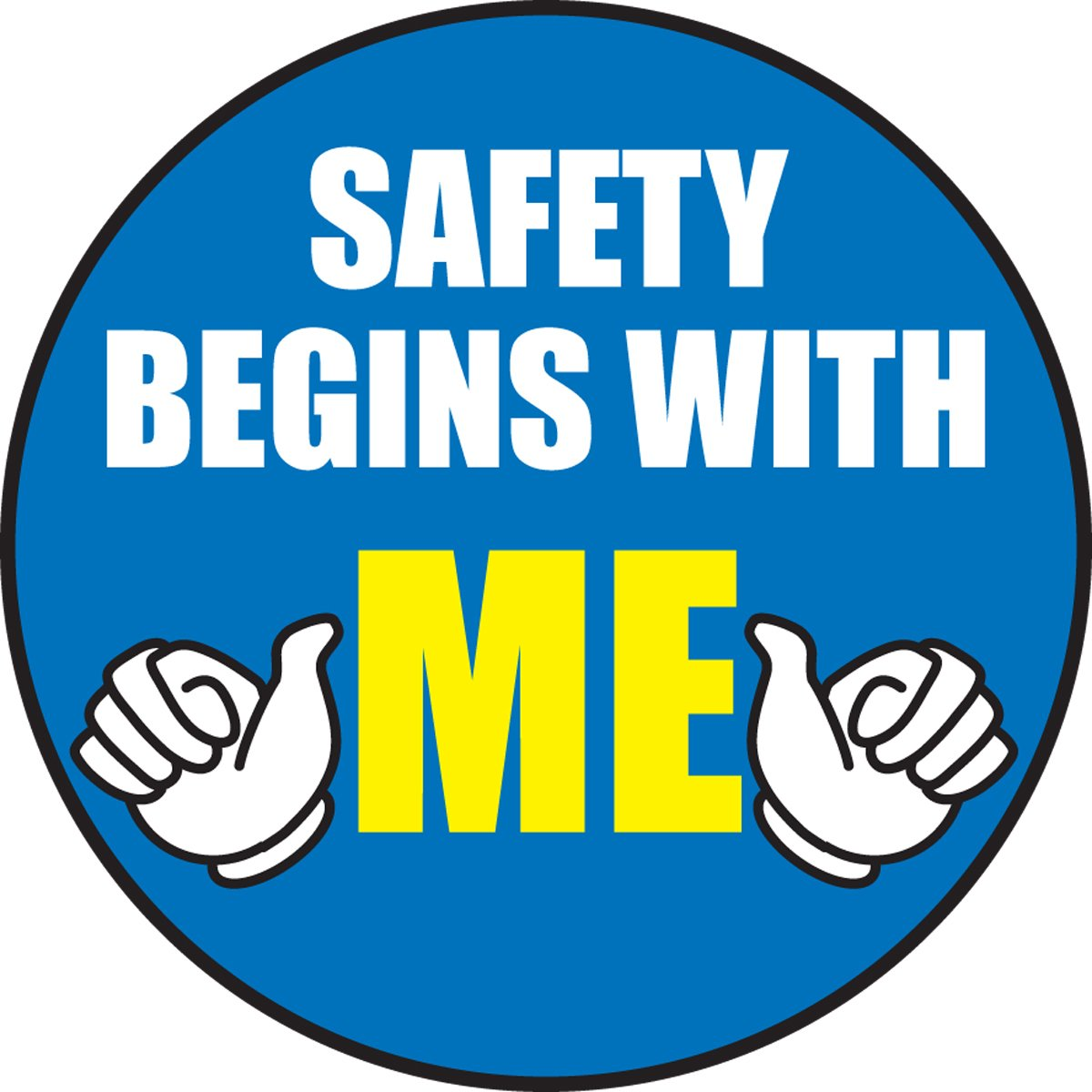 LegendSAFETY BEGINS WITH ME with Graphic Pack of 10 2-1//4 Diameter Accuform Signs LHTL152 Adhesive Vinyl Hard Hat Decal Yellow//White on Blue
