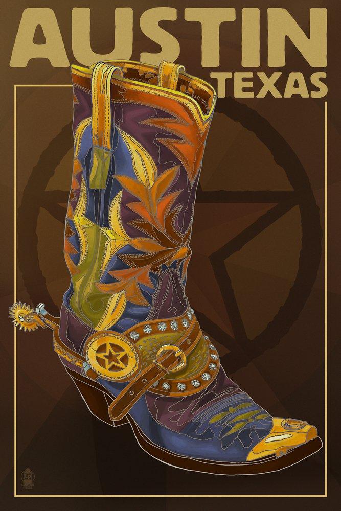 オースティン、テキサス – Boot and Star 16 x 24 Signed Art Print LANT-45772-709 B07B2FZBKD 16 x 24 Signed Art Print16 x 24 Signed Art Print