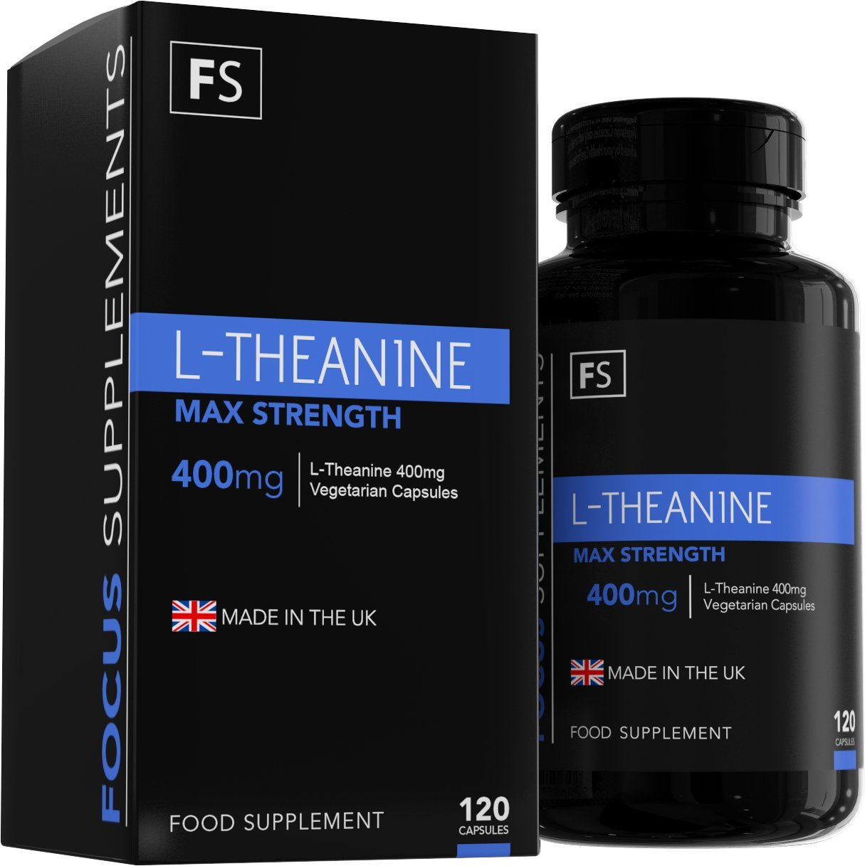 L-Teanina - 400 mg por Cápsula - Mucha Resistencia - 120 Cápsulas Vegetarianas - Cantidad Para 4 Meses - Hecho en el RU, en Instalaciones con Licencia ISO: ...