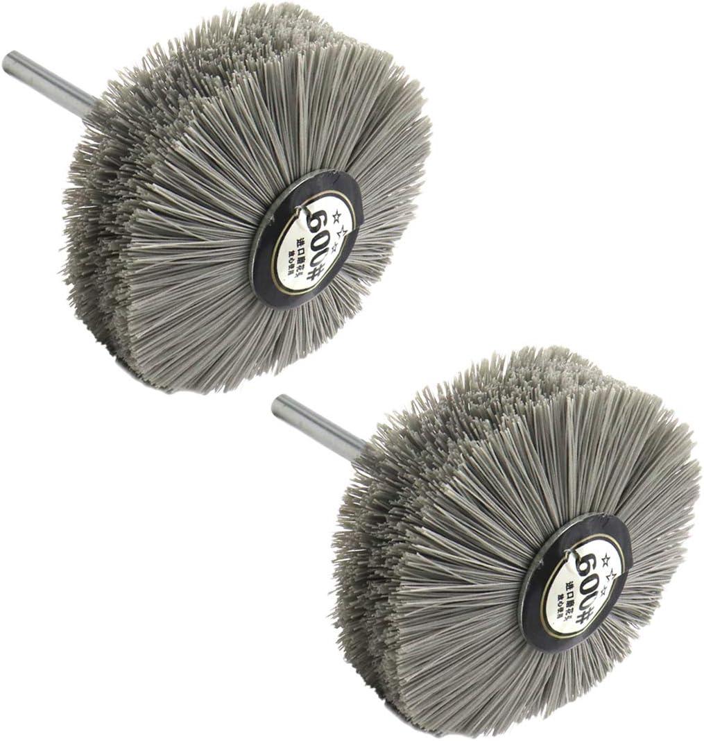 2Pcs Sydien 180 Grits Abrasive Nylon Wheel Brush Woodwork Polish Grinder with 6mm//0.24inch Shank