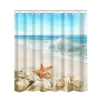 Artown Starfish Beach Shower Curtain Blue Sky Tropical Beach Conch Seashell Romantic Travel Seaside 3d Artworks Printing Waterproof Fabric Bathroom