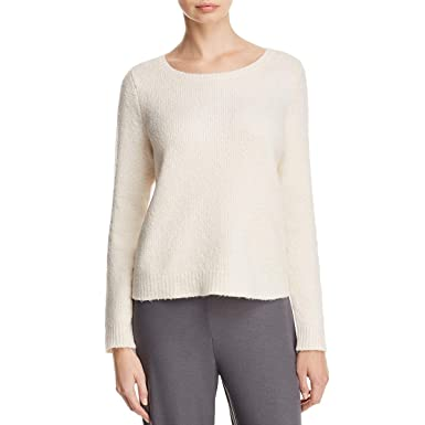 cc3879df45c Eileen Fisher Womens Chenille Ribbed Knit Pullover Sweater White XL at  Amazon Women s Clothing store