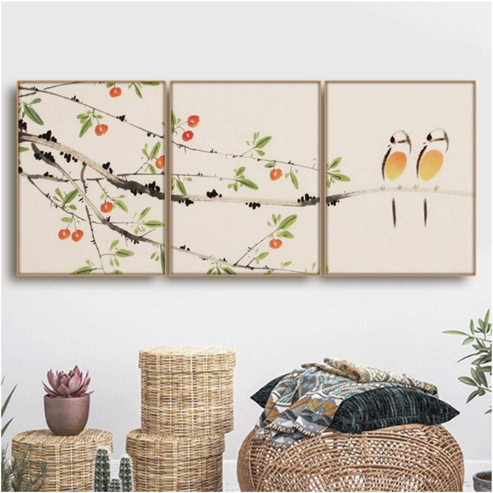 NIESHUIJING Pintura de Lienzo Flores de Estilo Chino Abstracto Paisaje de pájaros Cuadros de Pared para decoración de Sala Arte de Pared 15.7