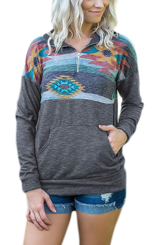 Women Quarter Zip Sweatshirt Long Sleeve Pullover Tops with Pockets