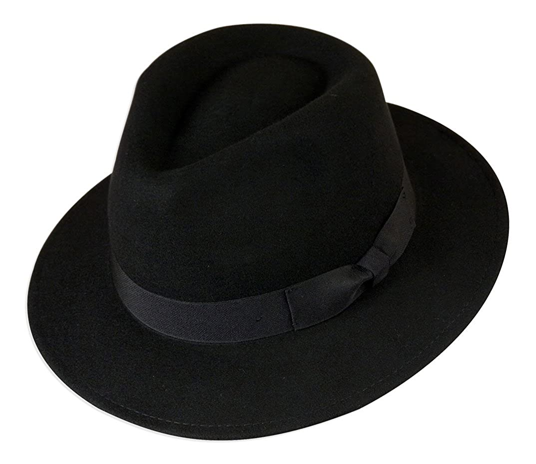 Gamble /& Gunn 100/% Wool Felt Fedora Black