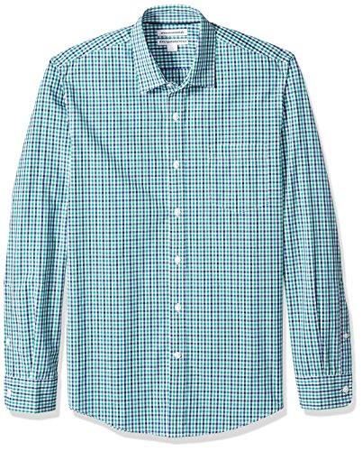 Amazon Essentials Men's Slim-Fit Long-Sleeve Casual Poplin Shirt, Blue/Green Gingham, Small