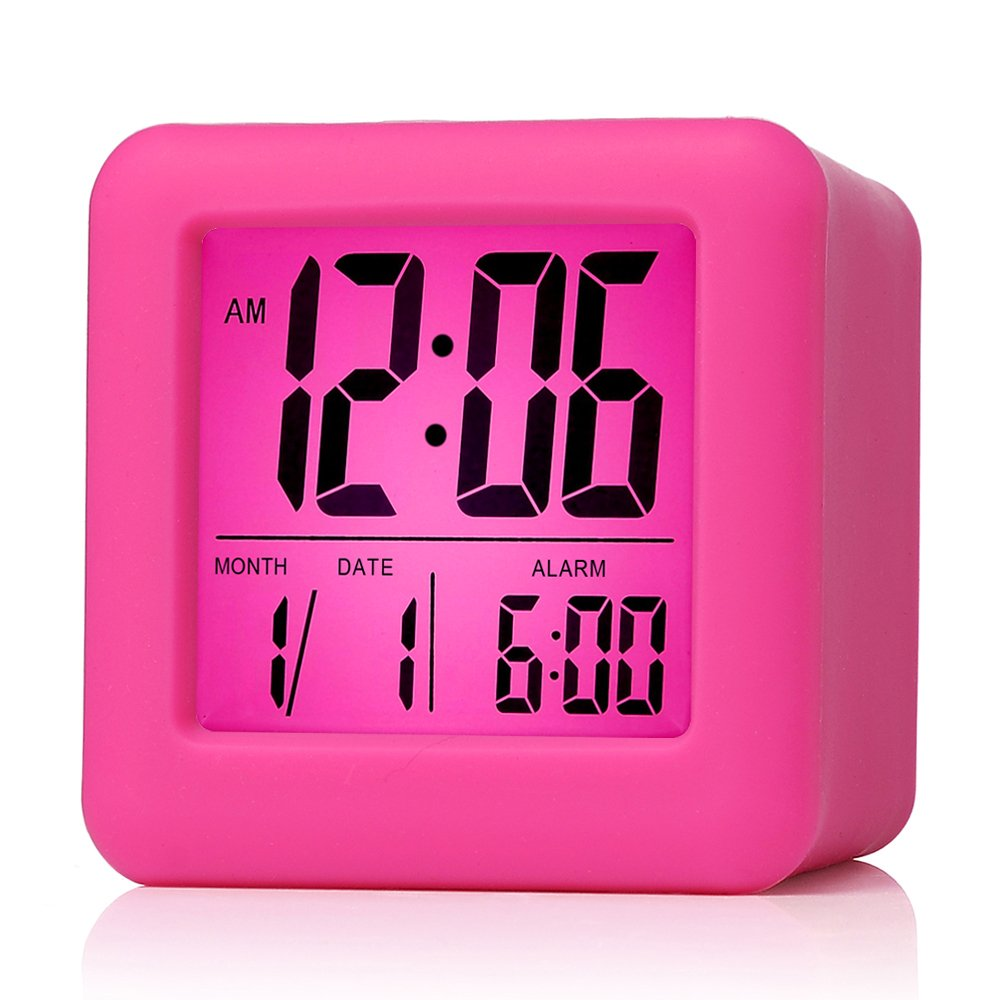 Plumeet Easy Setting Digital Travel Alarm Clock with Snooze, Soft Nightlight, Large Display Time & Month & Date & Alarm, Ascending Sound Alarm & Handheld Sized, Best Gift for Kids (Hot Pink)