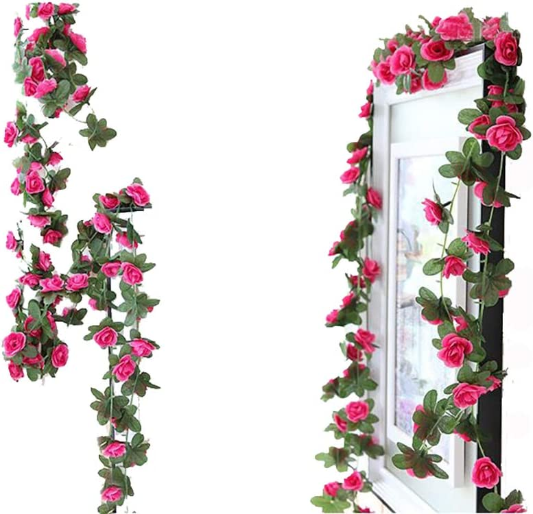 Lannu 2 Pack Artificial Rose Vine Flowers Fake Garland Ivy Flowers Silk Hanging Garland Plants for Home Wedding Party Decorations (Rose red)