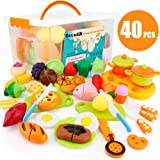 Sotodik 40PCS Kitchen Toys Cutting Toys Pretend Vegetables Fruits Play Food Educational Toys for Girls Boys Kids With…
