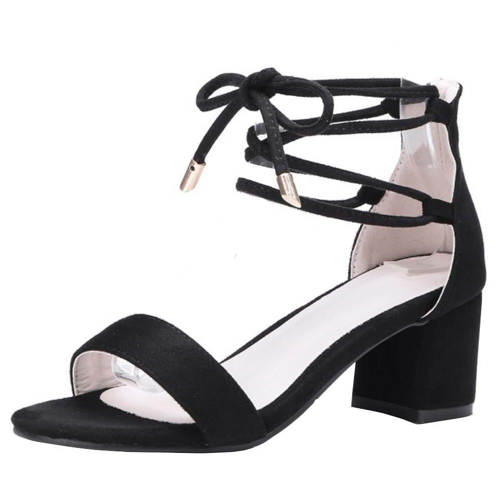 TAOFFEN Damen Schnurung Sandalen Sommer Schuhe Absatz  36.5 EU|Black-1