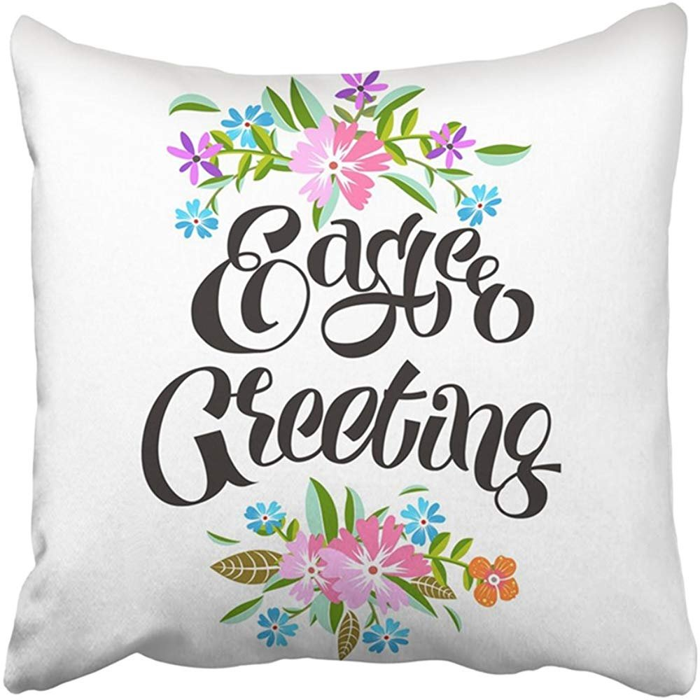 Staroutah Throw Pillow Cover Polyester 18X18 Inches Border Easter Lettering Cartoon Celebration Christian Floral Flower Graphic Grass Decorative Cushion Pillow Case Square Two Sides Print For Home
