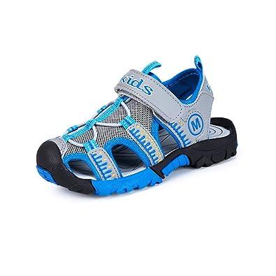 ZOEASHLEY Kinder Sandalen Jungen Sport Outdoor Trekkingsandalen Sommer  Strand Schuhe mit Klettverschluss - Vorne Geschlossen