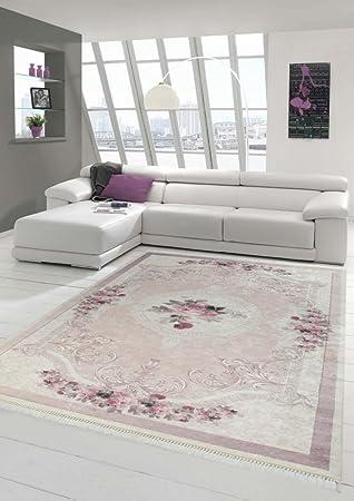 Merinos Teppich Blumen Wohnzimmerteppich Waschbar In Rosa Creme