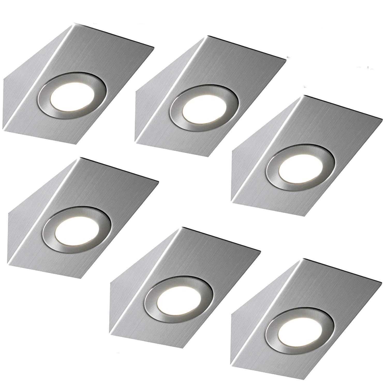 6 x 2,6 W LED Küche Unterschrank Wedge Spot Lighting & Driver Kit – Edelstahl-Finish – natürlich kaltweiß Beleuchtungsstrahl – Theken- Arbeitsflächen-Downlights – SchLäufen