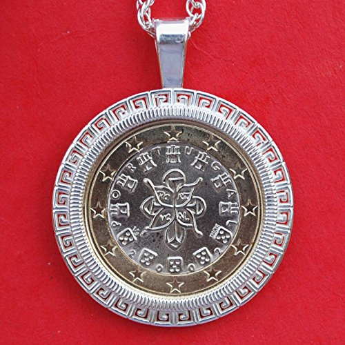 2002 Portugal One Euro BU Unc Coin Solid 925 Sterling Silver Necklace NEW - Royal Seal of 1142