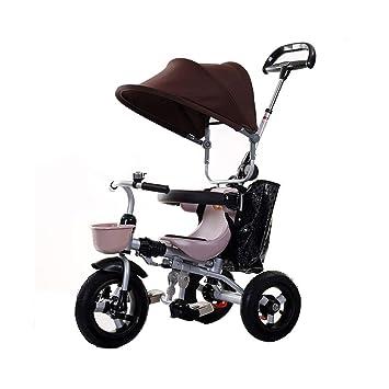 Niño 3 Ruedas Rueda Bicicleta Plegable 3 en 1 Triciclo para niños Cochecitos para niños Trike para niños pequeños Toldos Dobles Protección de Frenos ...