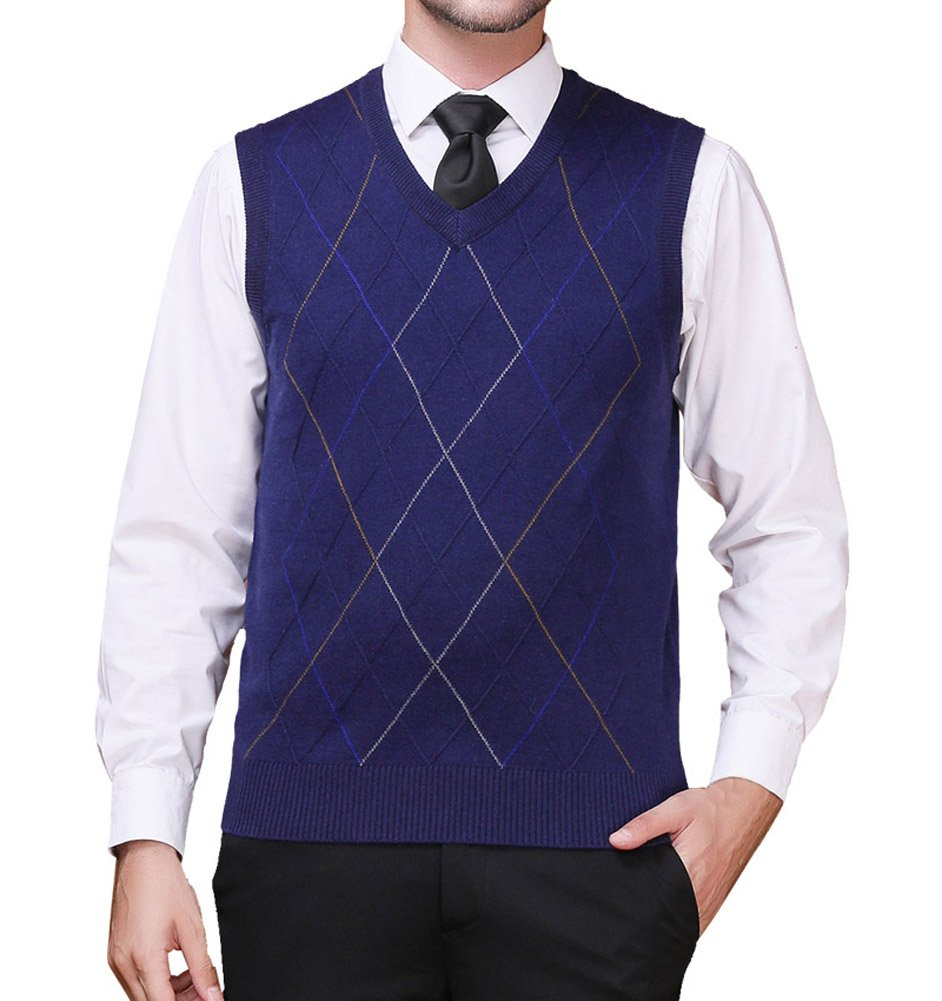 Zicac Men's Pullover Sweater Vest V-Neck Knitted Waistcoat Argyle Sleeveless Sweater Business Knitwear (L, Navy Blue) by Zicac